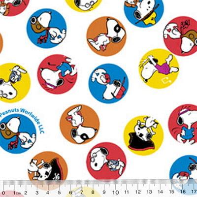 Tecido Tricoline Personagens F. Maluhy - Snoopy Colors - 100% Algodão - Largura 1,50m
