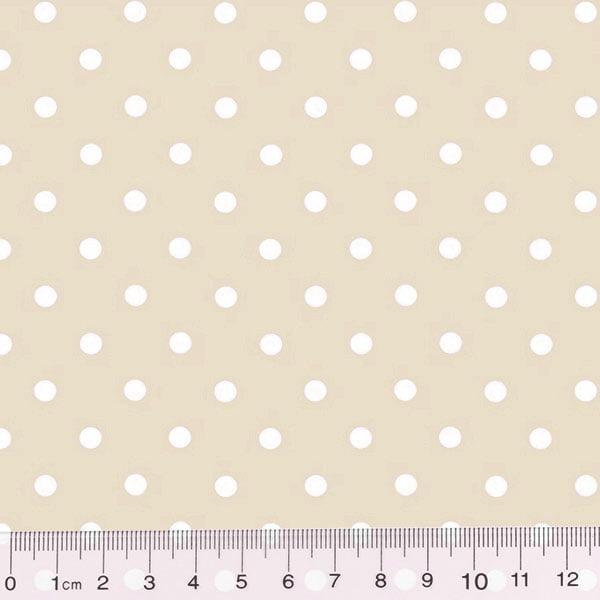 Tecido Tricoline Poá Dots - Fundo Bege c/ Branco - 100% Algodão - Largura 1,50m
