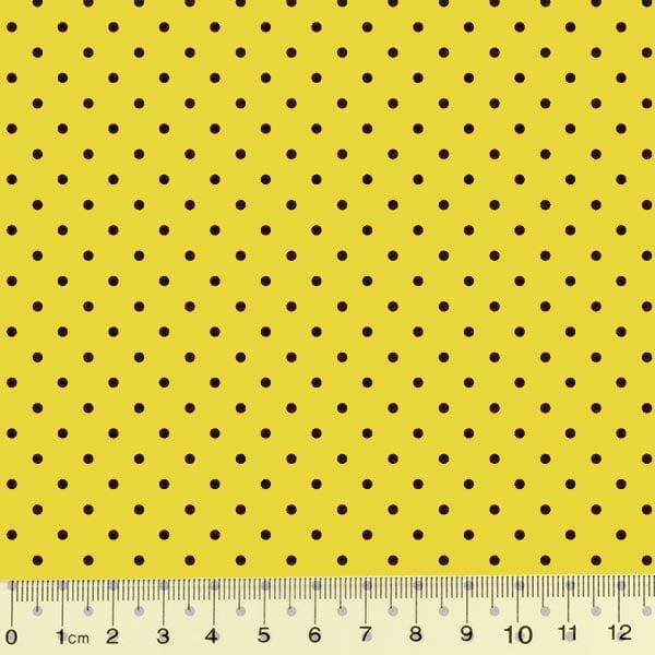Tecido Tricoline Poá M - Fundo Amarelo c/ Preto - 100% Algodão - Largura 1,50m