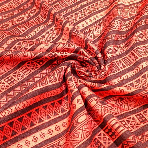 Tecido Viscose Light Estampada - Barrado Étnico Vermelho - Ref 42 - 100% Viscose - Largura 1,40m