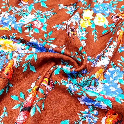 Tecido Viscose Light Estampada - Floral Brown - Ref 44 - 100% Viscose - Largura 1,40m