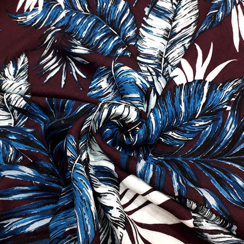 Tecido Viscose Light Estampada - Floral Tropical - Ref 21 - 100% Viscose - Largura 1,40m