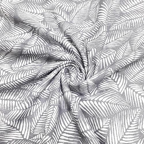 Tecido Viscose Light Estampada - Folhas Cinza - Ref 01 - 100% Viscose - Largura 1,40m