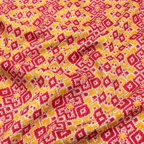 Tecido Viscose Light Estampada - Frames Vermelho e Amarelo - Ref 54 - 100% Viscose - Largura 1,40m