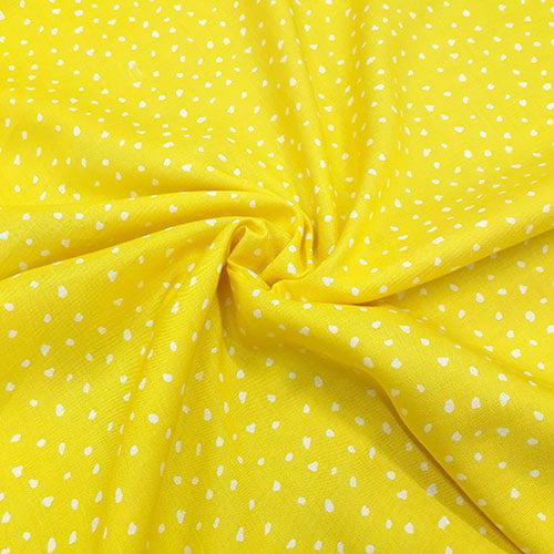 Tecido Viscose Light Estampada - Pingos Amarelo - Ref 19 - 100% Viscose - Largura 1,40m
