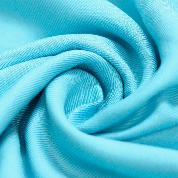 Tecido Viscose Lisa Sarjada Premium - Azul Piscina - 100% Viscose - Largura 1,45m